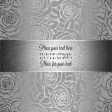 Abstract background with rosesand vintage frame. Abstract background with roses, luxury black and silver vintage tracery made of roses, damask floral wallpaper Royalty Free Stock Images