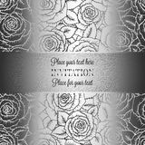 Abstract background with rosesand vintage frame. Abstract background with roses, luxury black and silver vintage tracery made of roses, damask floral wallpaper Stock Images