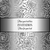 Abstract background with rosesand vintage frame. Abstract background with roses, luxury black and silver vintage tracery made of roses, damask floral wallpaper Stock Photo