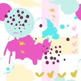 Abstract background with round shapes. Abstract background with geometric colorful shapes. Seamless pattern with ink hand drawn dots hearts and stars royalty free illustration