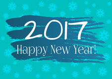Abstract background. Round snowflakes, brush strokes. Text 2017. Happy New Year! Postcard, poster, background for congratulations, sticker design for gifts Stock Image