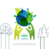Abstract background for save earth day. People holding green earth. Abstract background for save earth day. Environmental, ecology, nature protection concept Royalty Free Illustration