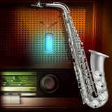 Abstract background with saxophone and retro radio Stock Images