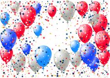 Abstract background with scattered confetti and balloons. Blank festive holiday card template. For Independence day, Patriot Day, Memorial day, Veterans day Stock Photos
