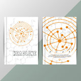 Abstract background with scientific formulas. Vector design technology brochure. Book or annual report cover, poster, flyer. Vector artwork with molecular Royalty Free Stock Image