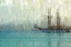 abstract background of sea with boat oil painting style photo. Stock Photo