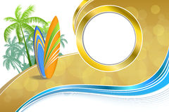 Abstract background sea coast holidays design orange green surfboards beach blue yellow Stock Photo