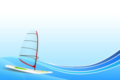 Abstract background sea holidays design red green white windsurfing blue frame illustration Royalty Free Stock Photos