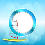 Abstract background sea sport holidays design red green windsurfing blue circle frame illustration Royalty Free Stock Photos