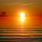 Abstract background with sea sunrise and tree. On horizon Royalty Free Stock Image