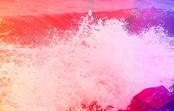 Abstract Background - Sea Waves with Splashing Water Droplets Stock Photography