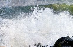 Abstract Background - Sea Waves with Splashing Water Droplets Royalty Free Stock Photos
