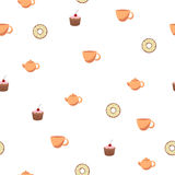 Abstract background seamless donut tea cup cake teapot Royalty Free Stock Photography
