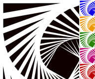 Abstract background set with concentric rotating lines Royalty Free Stock Photography
