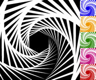 Abstract background set with concentric rotating lines Stock Photo