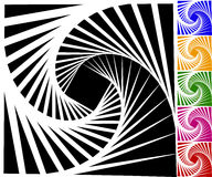 Abstract background set with concentric rotating lines Royalty Free Stock Images