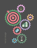 Abstract background with a set of gears. Concept strategy icons. Vector sign for web graphic stock illustration