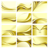 Abstract Background Set Golden Theme. Abstract curve background set with golden theme Stock Image