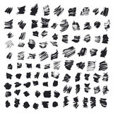 Abstract background. Set of  ink strokes with a dry brush. Black and white drawing Royalty Free Stock Photos