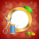 Abstract background sewing thread equipment scissors button needle pin blue green red yellow gold circle frame illustration Stock Photo