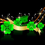 Abstract background with shamrocks leaf. Abstract art work design with shamrocks leaf and hat reflection on black background for St. Patricks Day vector illustration