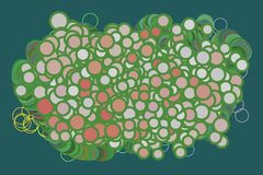 Abstract background with shape of circles, bubbles, sphere or ellipses pattern. Color, style, drawing & texture. Abstract background with shape of circles Royalty Free Stock Photography