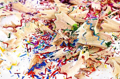 Shavings of colored pencils Royalty Free Stock Image