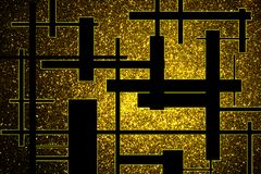 Abstract background with shiny gold stars and black bars royalty free stock photography
