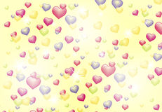 Abstract background with shiny hearts Royalty Free Stock Images