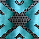 Abstract metal background with shiny teal texture Stock Images