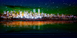 Abstract background with silhouette of city Stock Photos