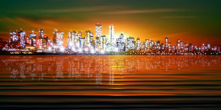 Abstract background with silhouette of city Stock Image