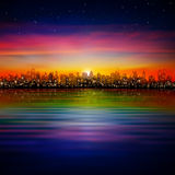 Abstract background with silhouette of city Stock Photo
