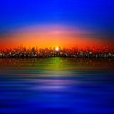 Abstract background with silhouette of city Royalty Free Stock Images