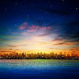 Abstract background with silhouette of city. Abstract nature background with panorama of city and sunset vector illustration