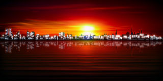 Abstract background with silhouette of city Royalty Free Stock Photography