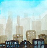 Abstract background. Silhouette of the city in a haze and with a blue sky, light windows, watercolor. Abstract background. Silhouette of the city of skyscrapers royalty free illustration