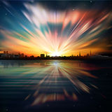 Abstract background with silhouette of city and su Stock Images