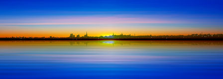 Abstract background with silhouette of city Royalty Free Stock Photo
