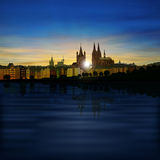 Abstract background with silhouette of koln. Abstract background with silhouette of cologne and sunset Stock Photos