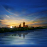 Abstract background with silhouette of koln and su Stock Images