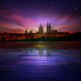 Abstract background with silhouette of koln and su Stock Photo