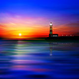 Abstract background with silhouette of lighthouse Royalty Free Stock Image