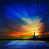 Abstract background with silhouette of lighthouse Stock Images