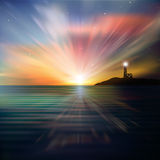 Abstract background with silhouette of lighthouse. And sunrise Stock Images