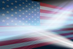 Abstract background with a silhouette of the USA flag. Abstract background with a silhouette of the USA flag and light rays Royalty Free Stock Photo