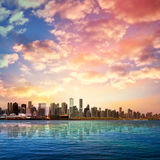 Abstract background with silhouette of Vancouver. Abstract nature background with panorama of Vancouver and pink clouds Stock Photo