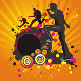 Abstract background with silhouettes of musicians. Royalty Free Stock Image