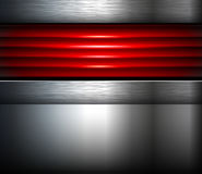 Abstract  background silver red. With metallic elements, 3D vector illustration Royalty Free Stock Photo