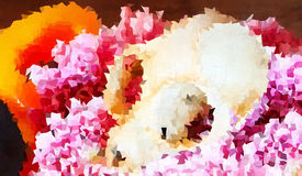 Abstract background of skull on pink flowers Stock Photo